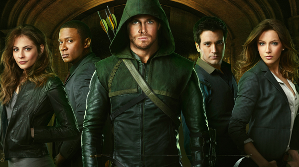The cast of Arrow, led by Stephen Amell as Oliver Queen