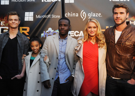 Jack Quaid, Amandla Stenberg, Dayo Okeniyi, Leven Ramblin and Liam Hemsworth attend 'The Hunger Games' National Mall tour fan event at Lenox Square on March 6, 2012 in Atlanta, Georgia. (Photo by Chris McKay/WireImage)