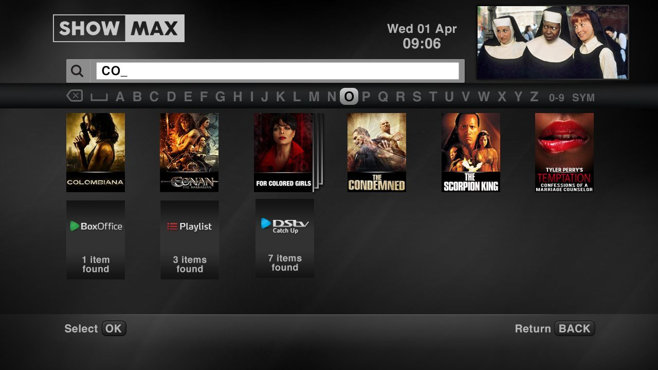 How do I search ShowMax content?